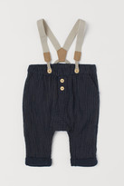 H&M Cotton Pants with Suspenders - Blue
