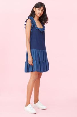 Rebecca Taylor La Vie Tissue Denim & Indigo Jersey Dress