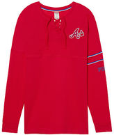 PINK Atlanta Braves Bling Lace-up Varsity Crew
