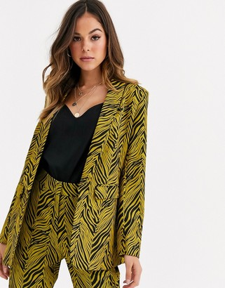 Liquorish suit blazer co ord in gold and black abstract print