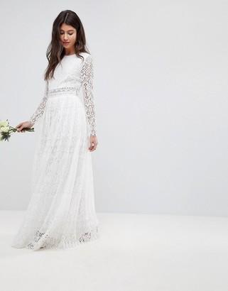 Asos EDITION Lace Long Sleeve Crop Top Maxi Wedding Dress