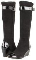 Taryn Rose Kura (Black Kid Suede/Black Patent) - Footwear