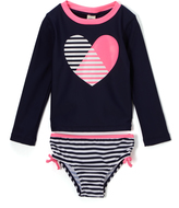Osh Kosh Navy & Pink Heart Rashguard & Bikini Bottoms - Infant & Toddler