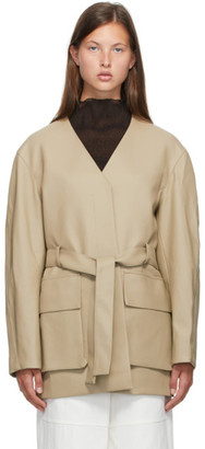 Low Classic Beige No Collar Faux-Leather Jacket