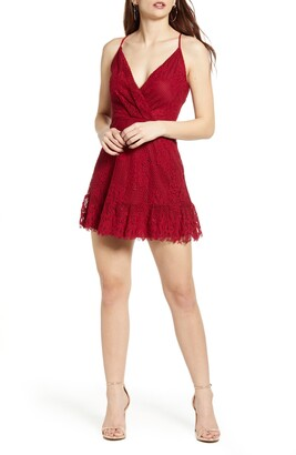 Speechless Lace Fit & Flare Minidress