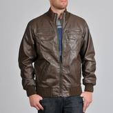 Buffalo by David Bitton Men's Faux Leahter Zip Front Chunky Knit Trim Jacket