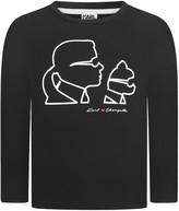Karl Lagerfeld Girls Black Choupette Print Top
