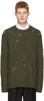 Maison Margiela Green Oversized Distressed Sweater