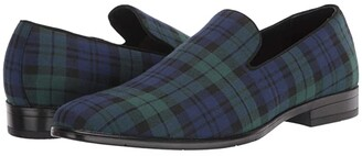 Stacy Adams Steward Plaid Slip-On Loafer (Navy/Green) Men's Shoes