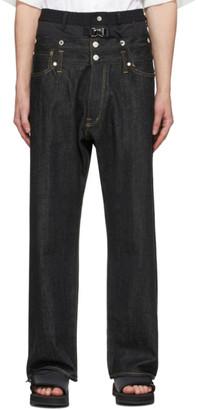 Fumito Ganryu Black Layered Waist Jeans