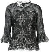 Oscar de la Renta elbow bell sleeve embellished blouse