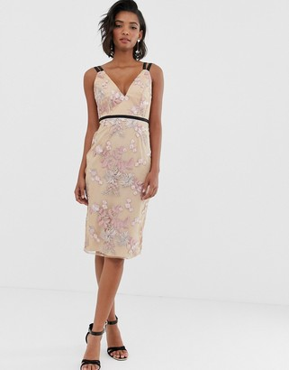 Asos Design DESIGN occasion pencil midi dress in floral embroidery-Pink