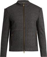 John Varvatos Zip-through wool and cotton-blend bomber jacket