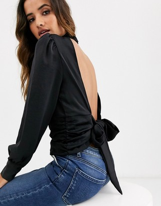 Vero Moda high neck open back tie blouse in black