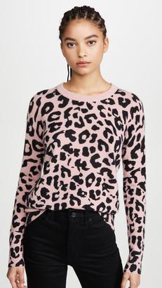 White + Warren Leopard Essential Cashmere Sweater