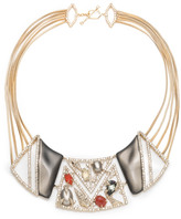 Alexis Bittar Crystal Ecrusted Mosaic Lace Bib Necklace