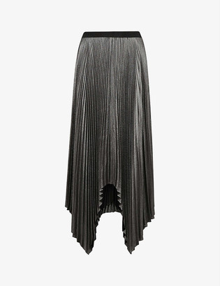 AllSaints Jas shimmer pleated recycled-polyester midi skirt