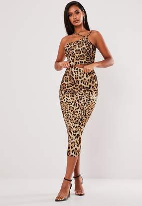 Missguided Brown Leopard Print Asymmetric Top And Midi Skirt Co Ord Set