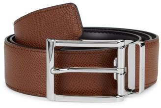 Salvatore Ferragamo Silvertone Buckle Leather Belt