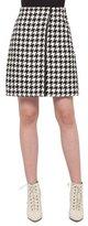 Akris Houndstooth Wrap Skirt, Black/Moonstone