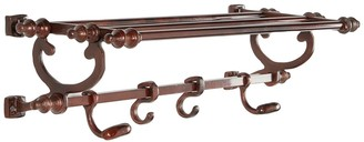Uma Brown Metal Hook Wall Shelf
