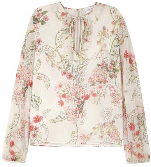 Giambattista Valli Floral-print Silk Chiffon Blouse