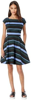Kate Spade Stripe Fiorella Dress (Pine Forest) Women's Dress