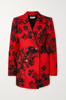 Balenciaga Hourglass Floral-print Wool-crepe Blazer - Red