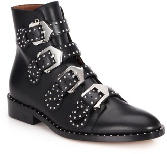 Givenchy Elegant Studded Buckle Leather Ankle Boots
