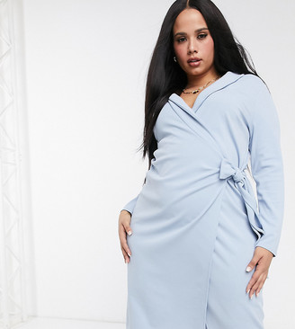 ASOS DESIGN Curve wrap midi dress with lapel collar detail in dusky blue