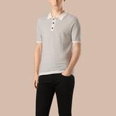 Burberry Micro Pattern Wool Silk Polo Shirt