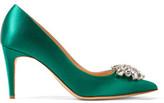 Rupert Sanderson Jewel Blair Crystal-Embellished Satin Pumps