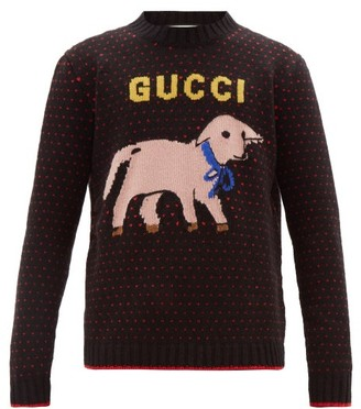 Gucci Lamb Logo Intarsia Wool Sweater - Mens - Black