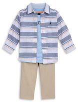 Nautica Baby Boys Striped Sportshirt, Logo Tee and Chinos Set