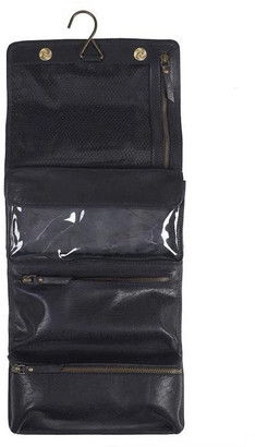 Hanging Black Leather Wash Bag