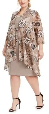 R & M Richards Plus Size Floral-Print Jacket & Necklace Dress