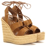 Saint Laurent Espadrille 95 Suede Wedge Sandals