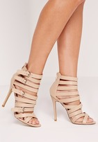 Missguided Buckled Strappy Heeled Sandals Nude