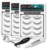 Ardell Fake Eyelashes Value Pack - Natural Multipack 110 (Black, 3-Pack), LashGrip Strip Adhesive, Dual Lash Applicator - Everything You Need For Perfect False Eyelashes