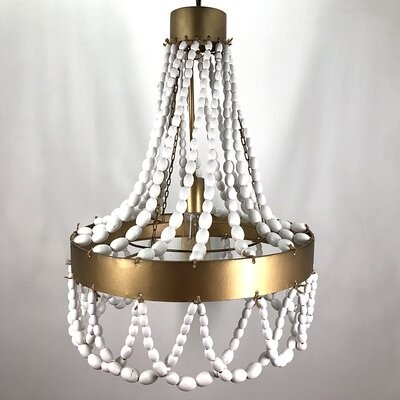 Dakota Fields 1 Light Unique Cone Pendant With Beaded Accents Finish Brass White Shopstyle