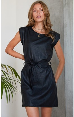 HEY YOU Leather Look PU Shoulder Pad Belted Mini Dress