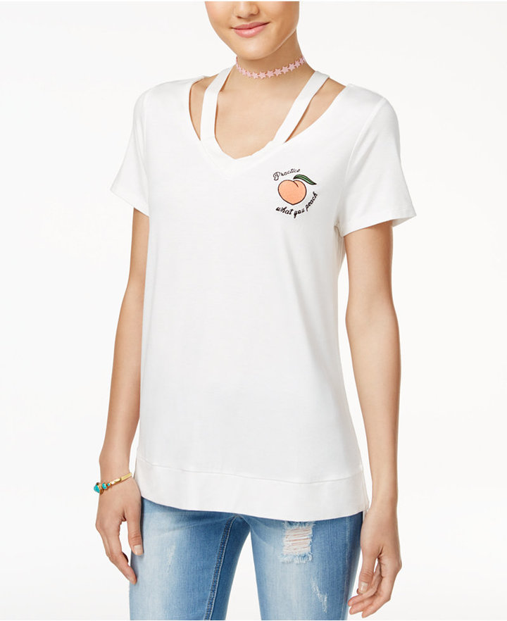 Miss Chievous Juniors' Embroidered Cutout T-Shirt