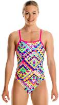 Funkita Girls White Diamond Cross Back One Piece