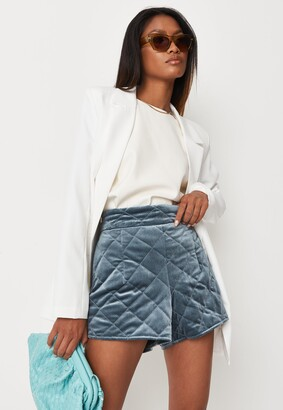 Missguided Blue Velvet Quilted Shorts