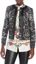 Roberto Cavalli Leather Trim Woven Jacket