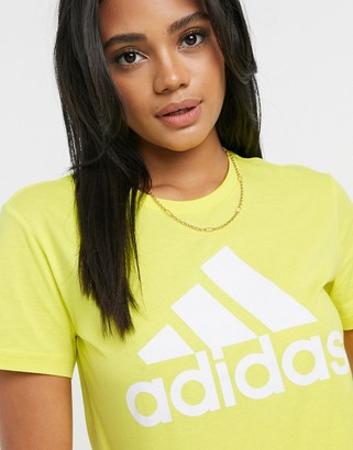 adidas Badge of Sport t-shirt in shock yellow