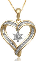 JCPenney FINE JEWELRY 1/4 CT. T.W. Diamond Heart and Flower Pendant Necklace