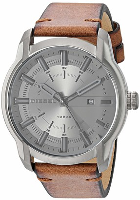 Diesel Men's Armbar Stainless Steel Analog-Quartz Watch with Leather Strap
