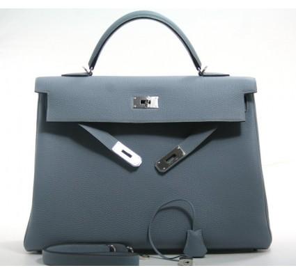 Hermes pristine (PR Bleu Lin Togo 40cm Kelly Bag with Palladium Hardware