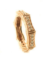 DESIGNER 14K Rose Gold Diamond Accent Band Ring Sz 6.25